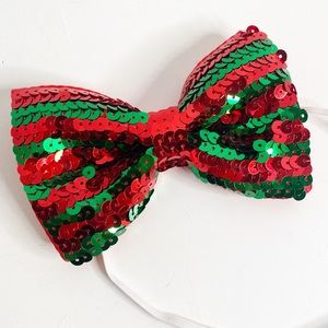 Large Christmas Holiday Sequin Costume Bow
